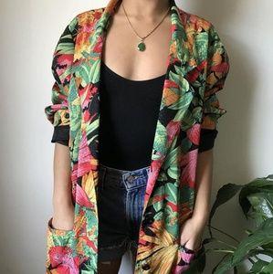 Vintage 80s floral satin oversized blazer